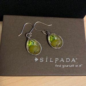 Silpada serpentine & glass bead earrings